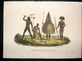 Schinz 1845 Antique Hand Col Print. Papua Natives, Pacific 52